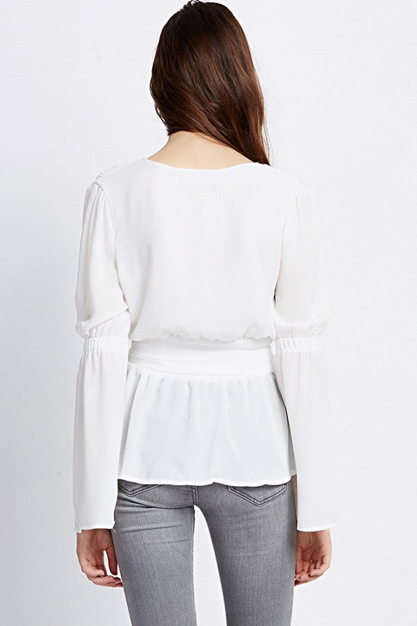 White Chiffon Deep V Neck Casual Top