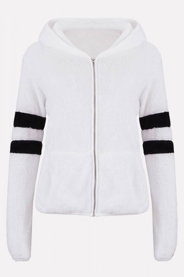 White Faux Fur Contrast Stripe Hooded Long Sleeve Casual Coat