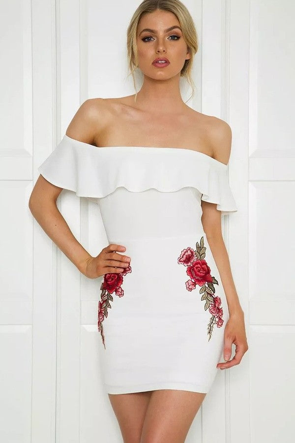 White Floral Embroidery Ruffles Decor Zipper Back Off Shoulder Dress