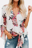 White Floral Print Knotted V Neck Casual Blouse