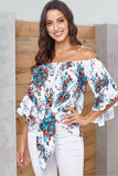 White Floral Print Off Shoulder Twisted Front Casual Blouse