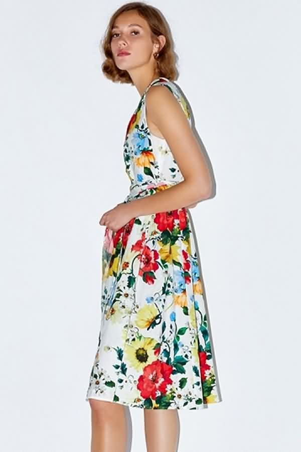 White Floral Print Tied Sleeveless Casual A Line Dress