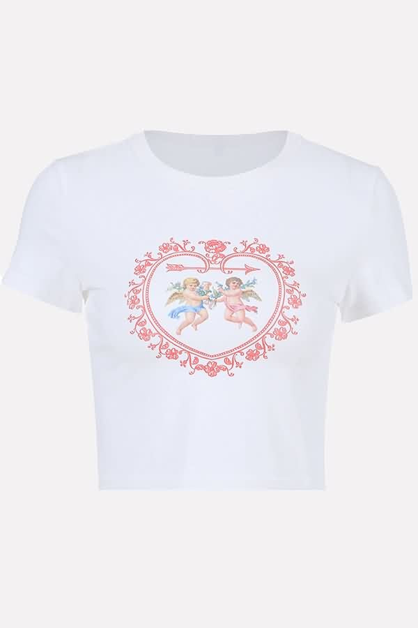 White Heart Cupid Print Ribbed Casual Crop Top