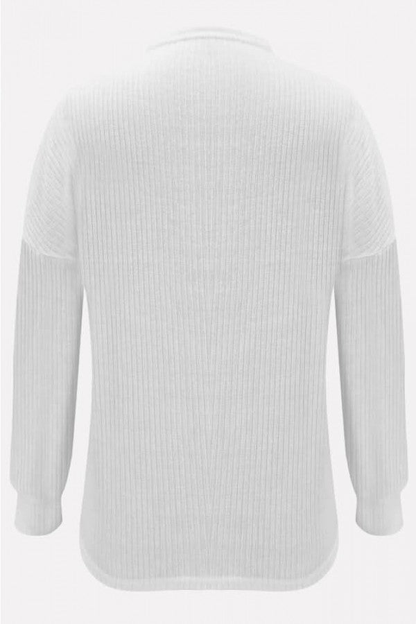 White Mock Neck Long Sleeve Casual Sweater