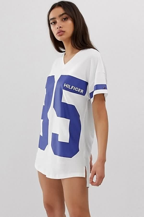 White Number Letters Print Slit V Neck Casual Mini Dress
