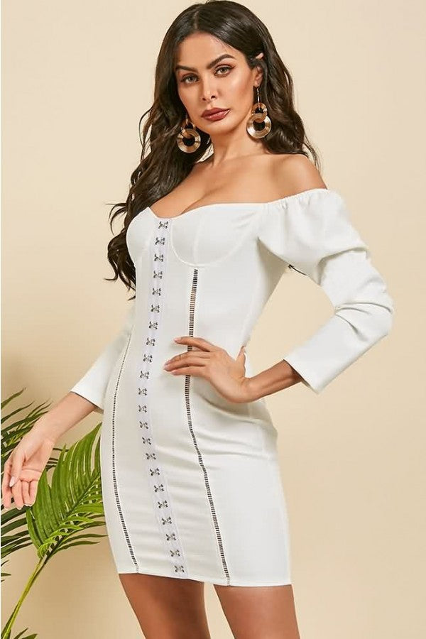 White Off Shoulder Hook Hollow Out Sexy Mini Bodycon Dress