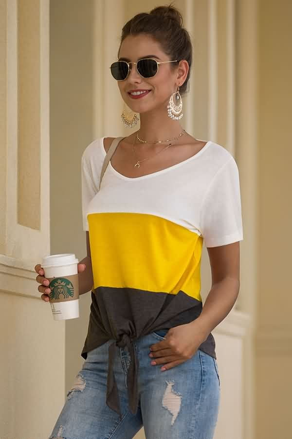 White Patchwork V Neck Knotted Hem Casual T Shirt