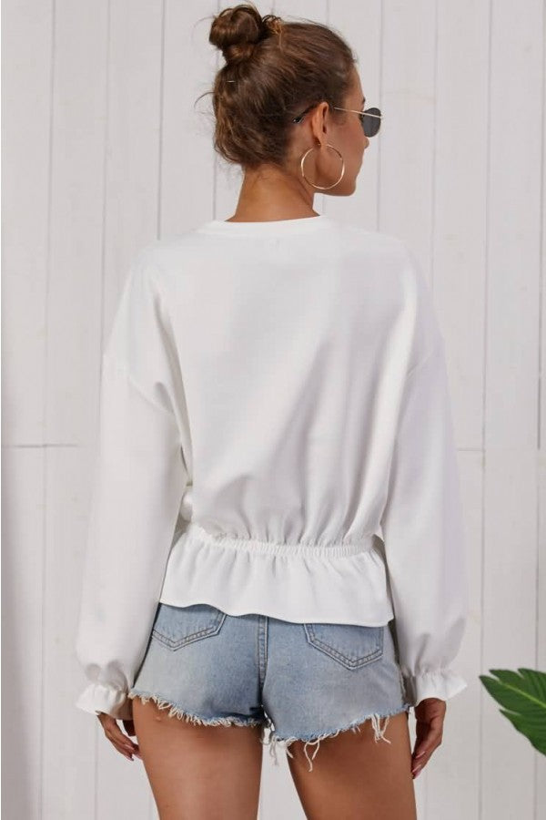 White Peplum Crew Neck Long Sleeve Casual Blouse