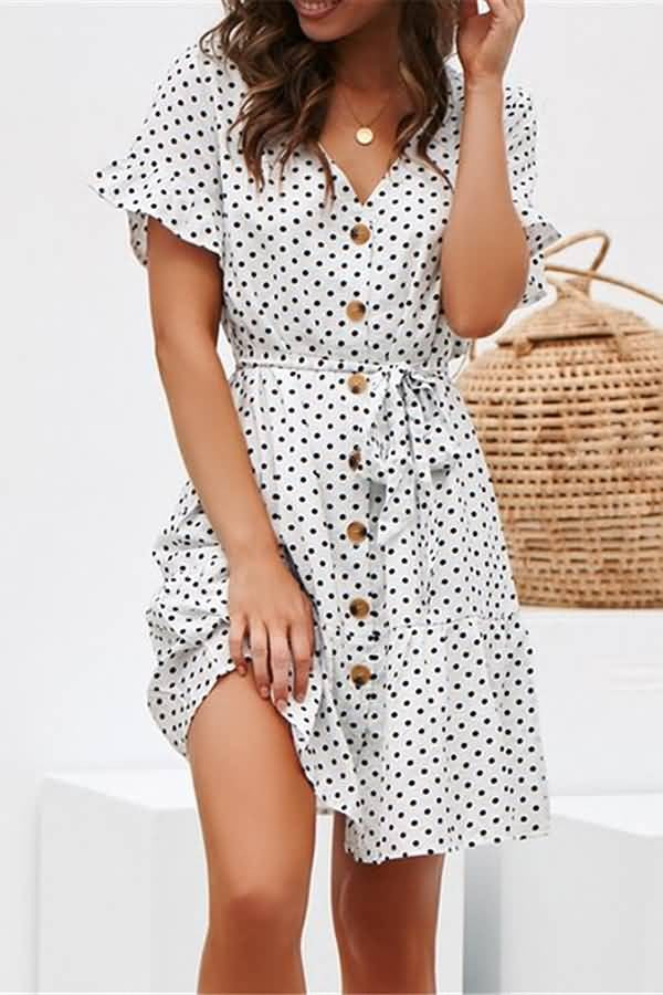White Polka Dot V Neck Button Up Tied Casual Dress