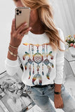 White Print Crew Neck Long Sleeve Casual T Shirt
