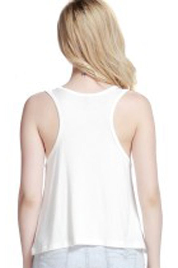 White Printed Round Neck Casual Tank Top