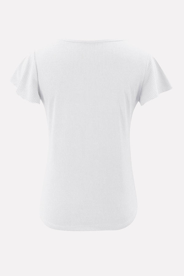 White Ribbed Button Decor Flounce Sleeve Casual T Shirt