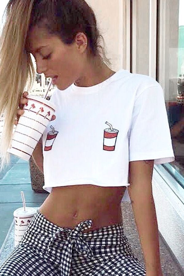 White Round Neck Short Sleeve Printed Chic Crop Top