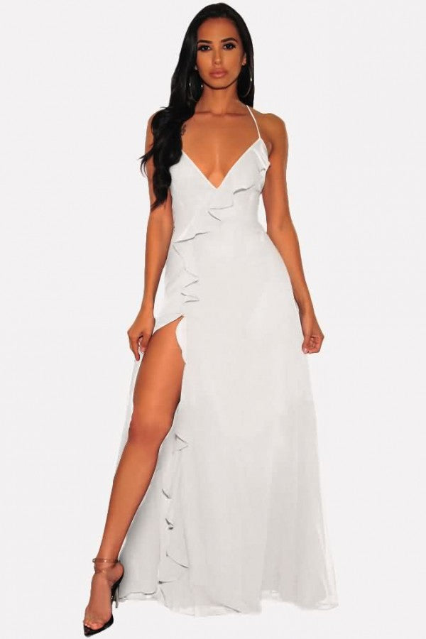 White Ruffles Slit Lace Up Sleeveless Sexy Maxi Dress