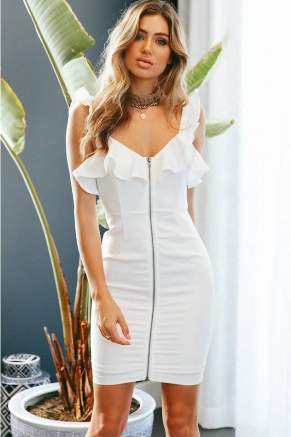 White Ruffles Zipper Front Sexy Bodycon Dress