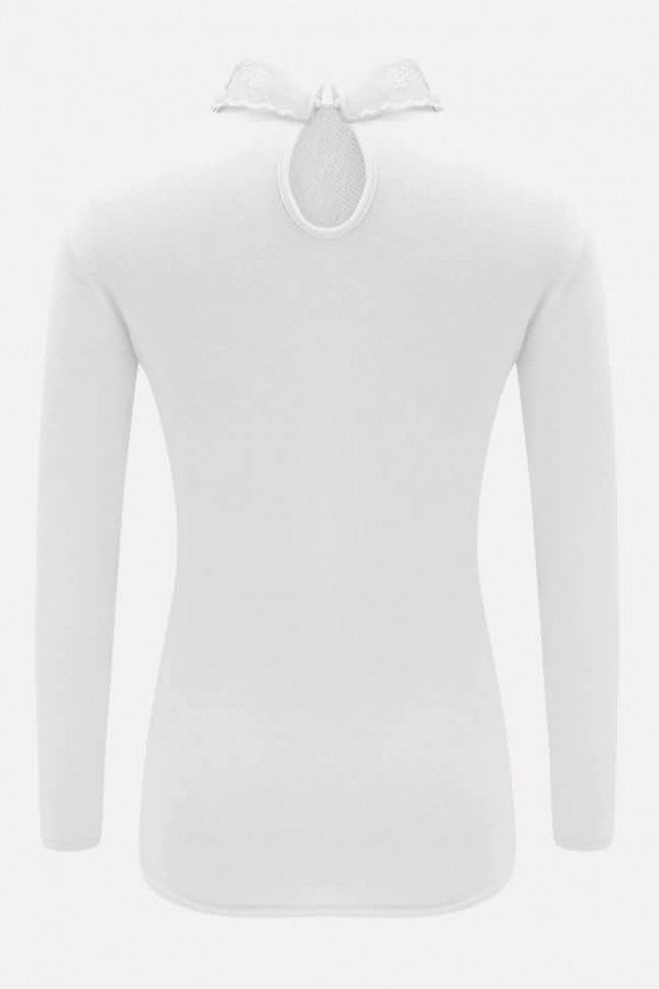 White Splicing Peter Pan Collar Long Sleeve Casual Sweater