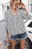 White Stripe Wrap Button Up Casual Blouse