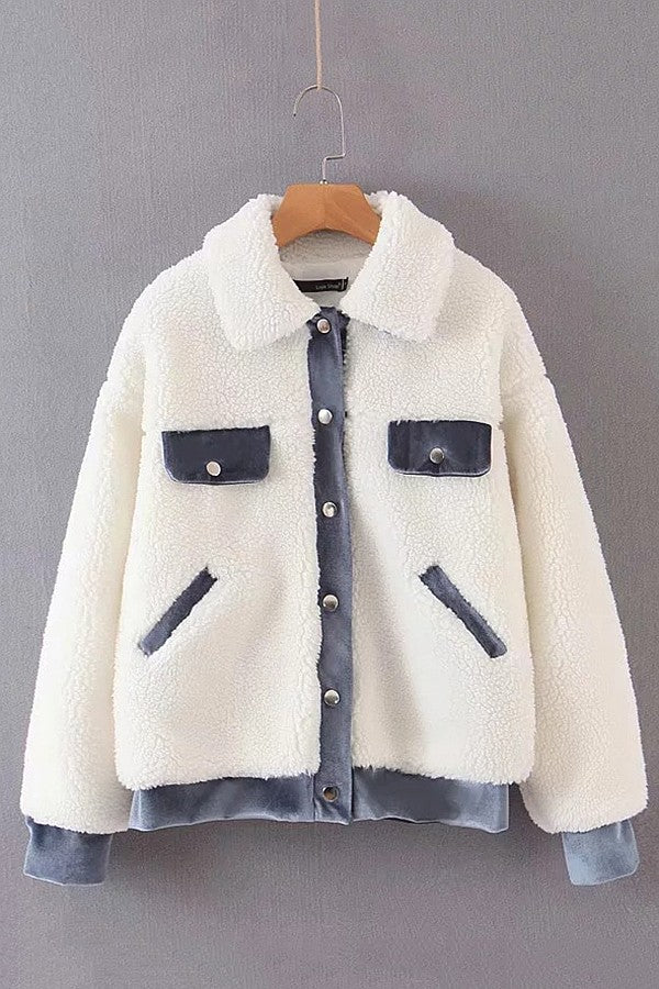 White Teddy Contrast Button Up Long Sleeve Chic Coat