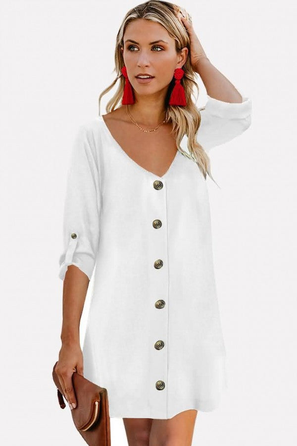White V Neck Button Decor Casual Tunic Dress