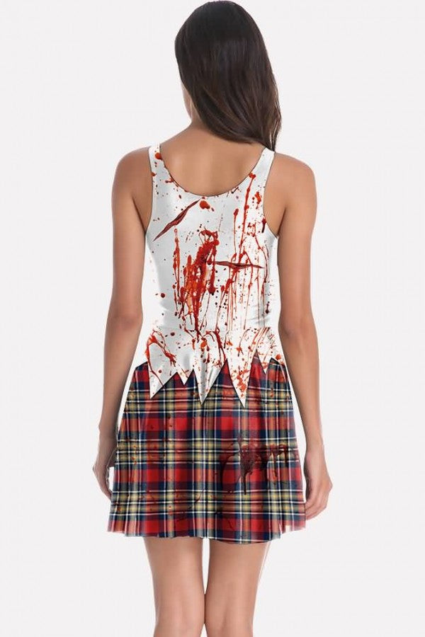 White Zombie Blood Print Horror Halloween Dress