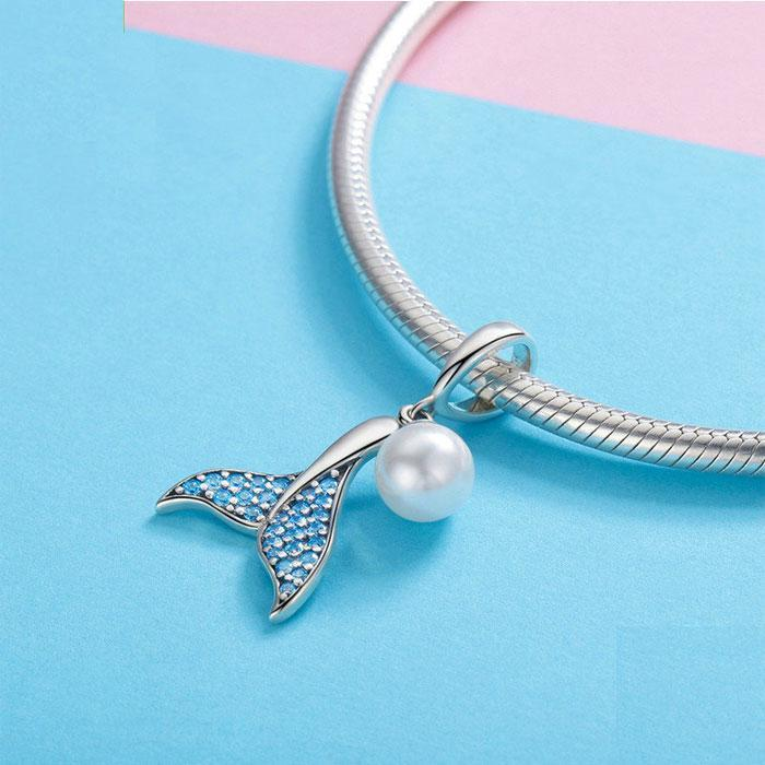 Unique Blue Diamond Necklace Crystal Mermaid Tail Pearl Pendant Silver Women Necklace