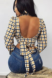 Yellow Gingham Open Back Tied High Collar Sexy Crop Top