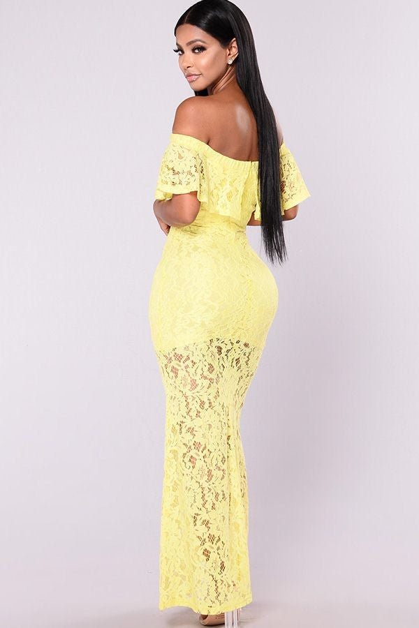 Yellow Off Shoulder Ruffle Maxi Lace Party Dress
