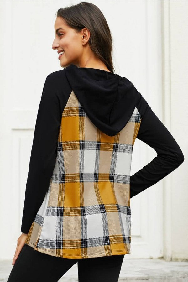 Yellow Plaid Pocket Long Sleeve Casual Hoodie