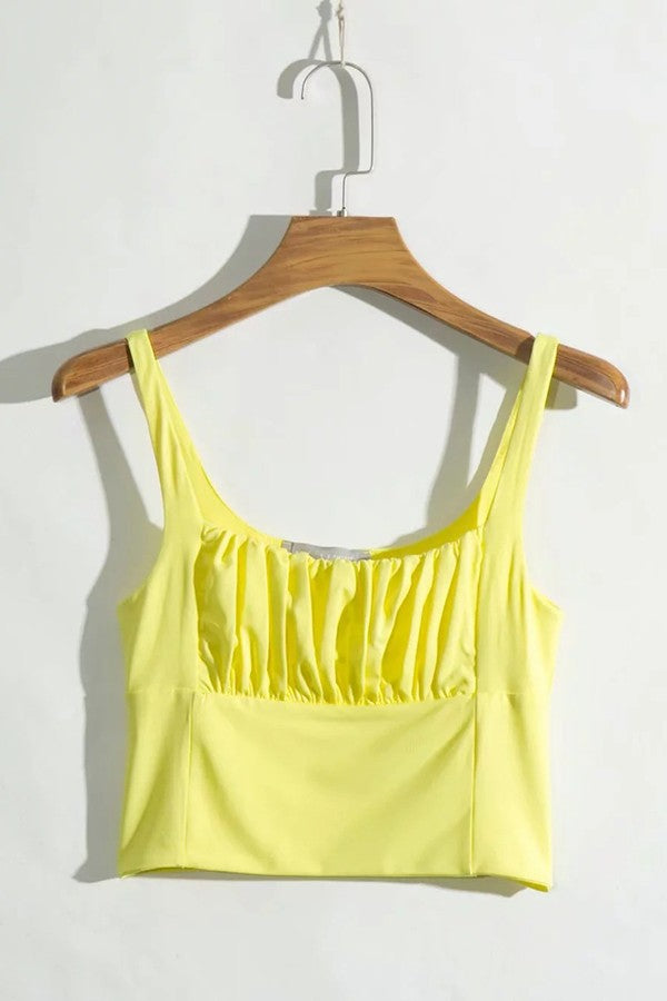 Yellow Spaghetti Straps Pleated Casual Camis