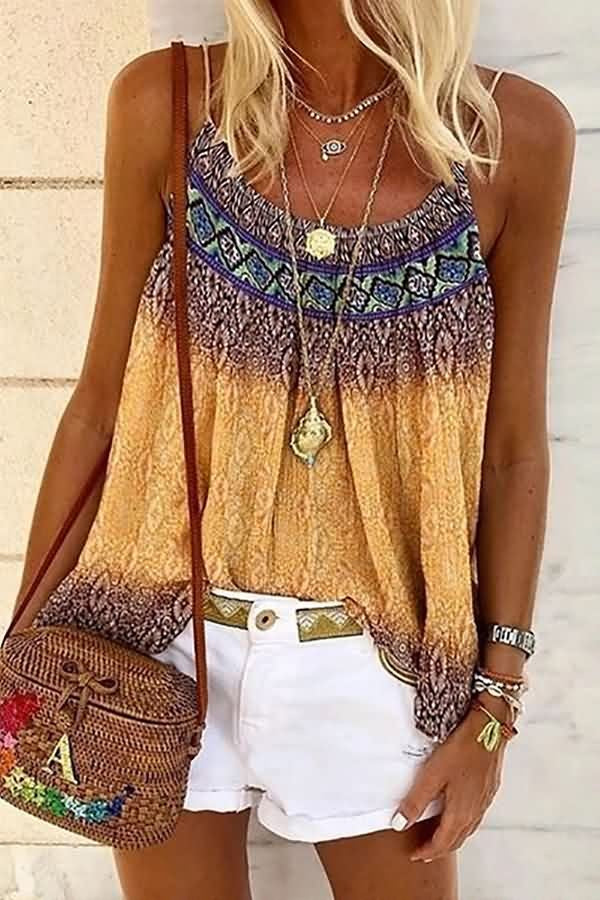 Yellow Tribal Print U Neck Casual Camisole