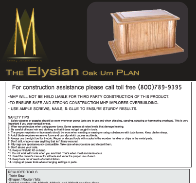 The Elysian Oak - Urn Plan