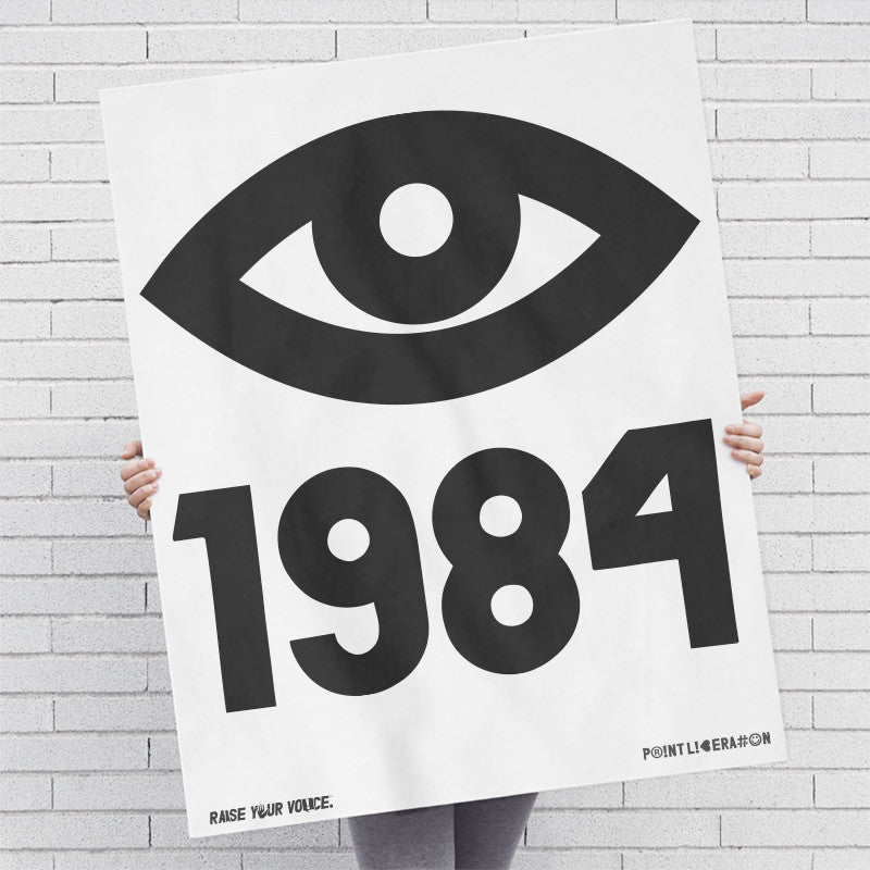 1984 George Orwell Big Brother Eye Screen Printed: Black Ink / Posters