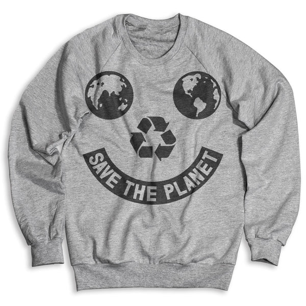 Save The Planet Smiley / Unisex Crew Neck Sweatshirt