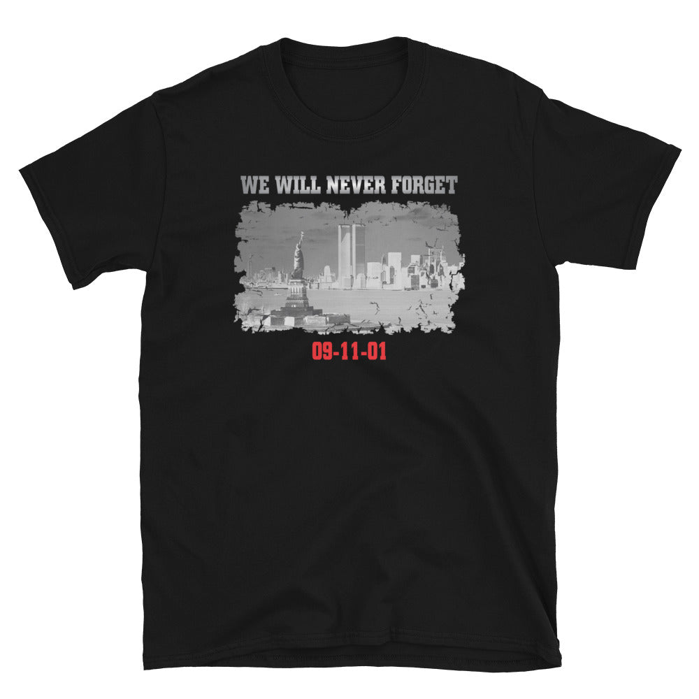 "Men's ""09-11-01 We Will Never Forget"" Black T"