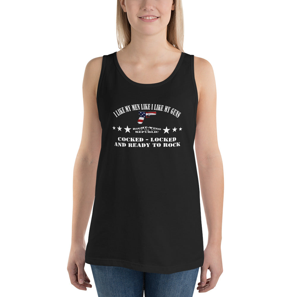 "Women's Tank Top ""Like My Men Cocked and Locked"""