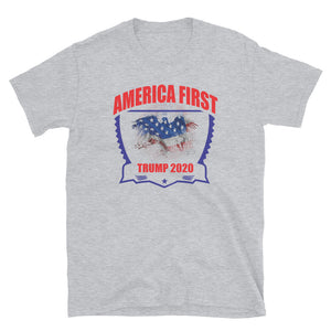 "Unisex ""Trump America First 2020"" Gray T"