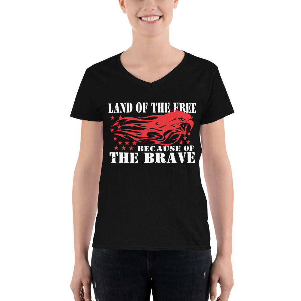 "Women's Casual V-Neck Shirt ""Land Of The Free"""