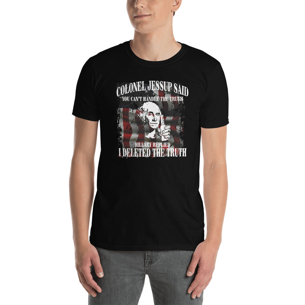 "Men's ""Drunk George: Hillary Deleted The Truth"" Black T"