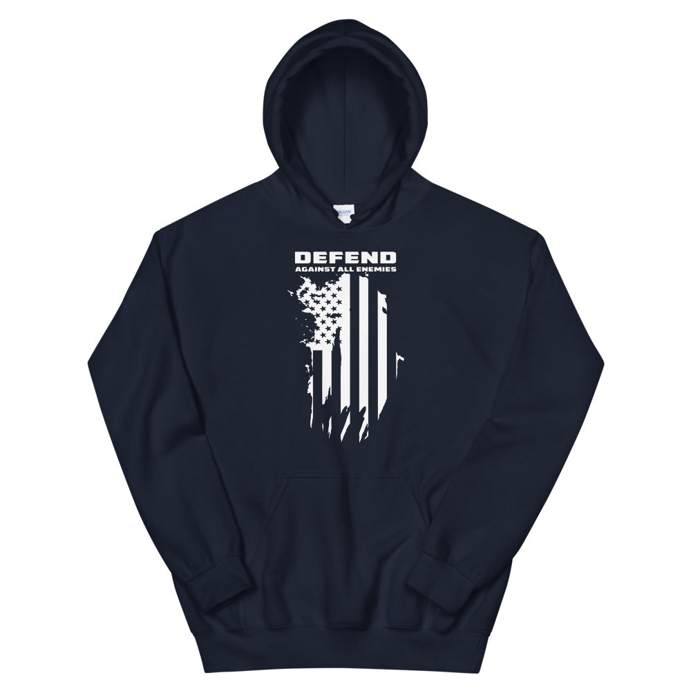 "Unisex Hoodie ""Defend Against All Enemies"""