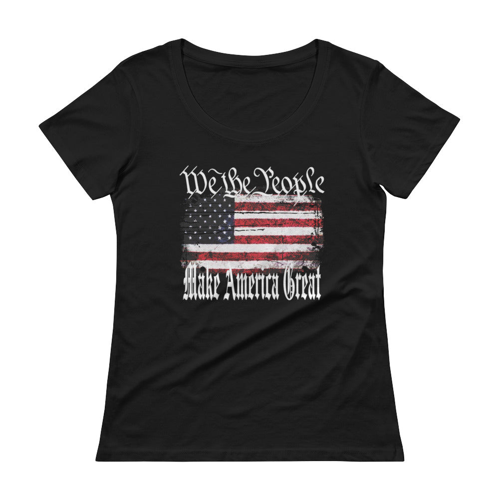 "Ladies' Scoopneck T-Shirt ""We The People Make America Great"""