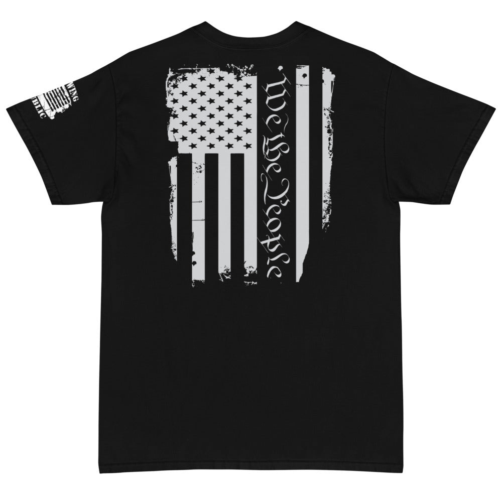 "Unisex ""We The People"" Black T Large Print on Back - Front Left Breast Pocket Print with Left Rocker Design"