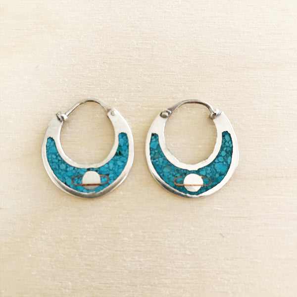VINTAGE STERLING SATURN HOOPS
