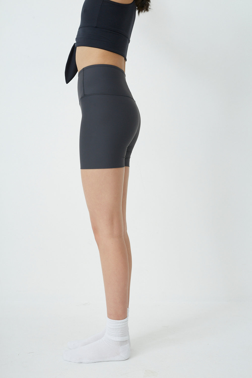 High Waist Seamless Shorts in Charcoal - PRE ORDER