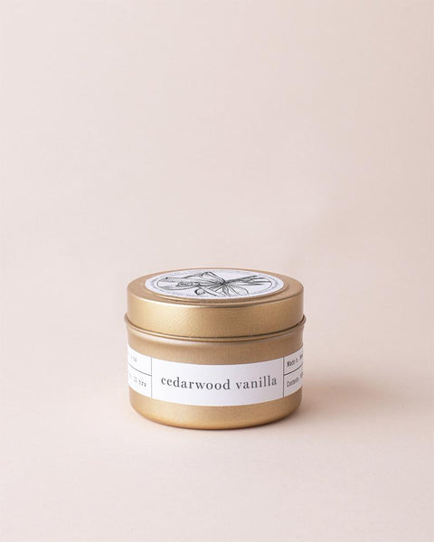 Cedarwood Vanilla Gold Travel Candle Mini Candle Tins Brooklyn Candle Studio