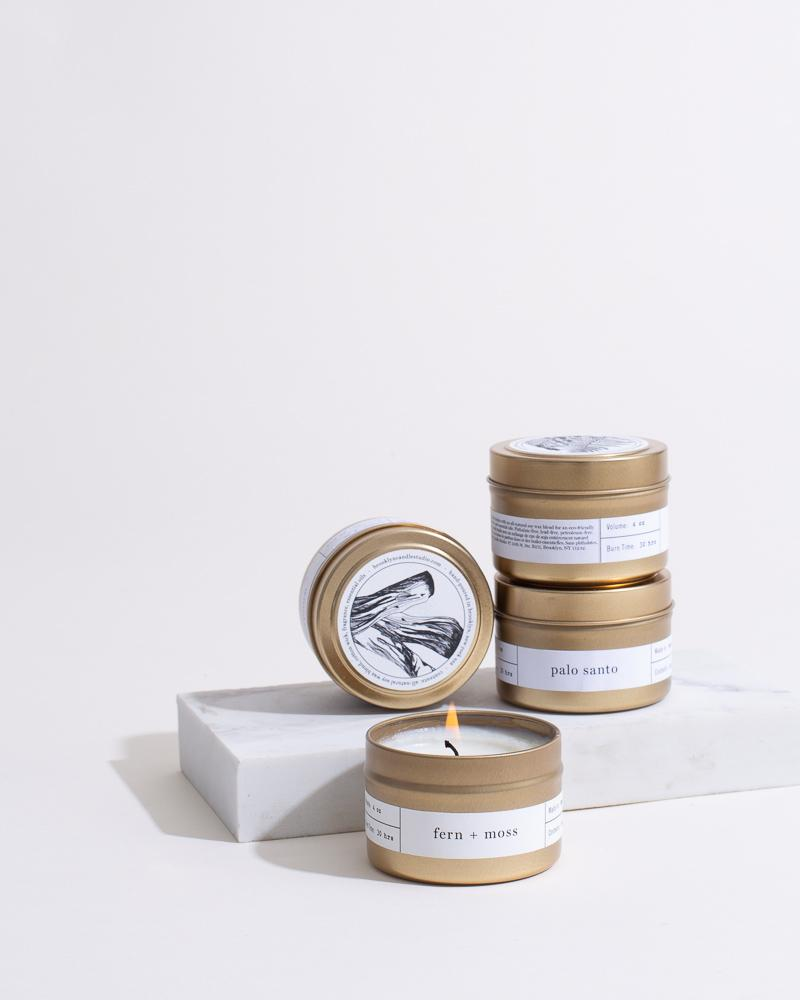 New Scents Starter Kit Set of four 4 oz Travel Candles in a Gold Tin