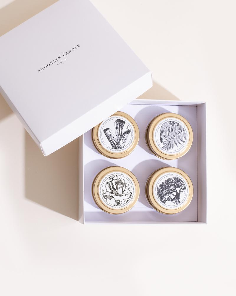 Pick 4 Gold Travel Candles Boxed Set ($64 Value) Mini Candle Tins Brooklyn Candle Studio