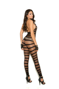 Diamond Net Striped Bodystocking
