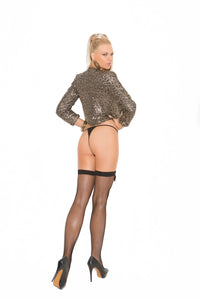 Fishnet Thigh Hi With Satin Bow
