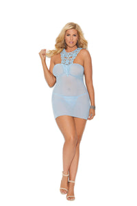 Mesh Babydoll with Front Crochet and G-string PLUS