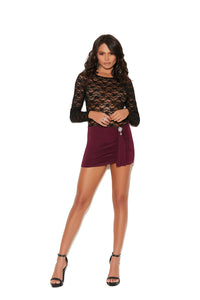 Rhinestone Lace Mini Dress